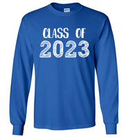 Graphics Inspire - Class of 2023 Graduation Hand Sketched Long Sleeve Royal Blue T-Shirt