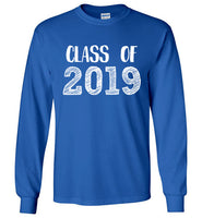 Graphics Inspire - Class of 2019 Graduation Hand Sketched Long Sleeve Royal Blue T-Shirt
