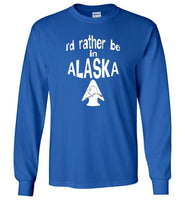 Graphics Inspire - I'd rather be in ALASKA - Arrowhead with State of Alaska Long Sleeve Royal Blue T-Shirt