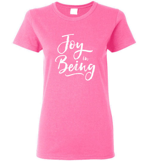 Graphics Inspire - Ladies Joy in Being Simple Inspirational Message of Joy Azalea Pink Tee