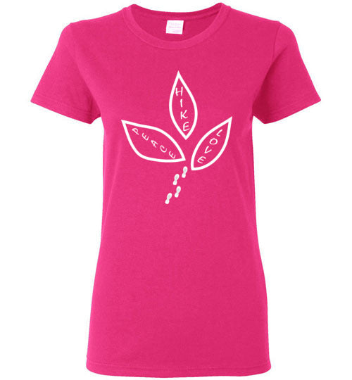 Graphics Inspire - Ladies Peace Love Hike Cute Hiker's Bright Pink Tee