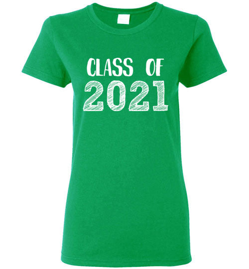 Graphics Inspire - Ladies Class of 2021 Graduation Hand Sketched Irish Green Tee