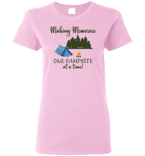 Graphics Inspire Tee - Making Memories One Campsite At A Time Tent Camping Ladies Tee