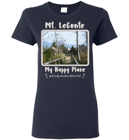 Graphics Inspire Tee - Mt. LeConte My Happy Place Great Smoky Mountains National Park Ladies Tee