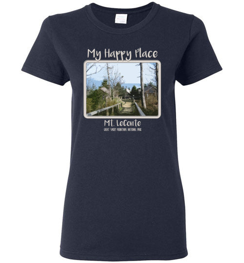 Graphics Inspire - Ladies Mt. LeConte is My Happy Place in the Great Smoky Mountains National Park Navy Tee