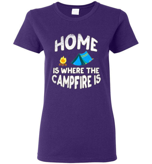 Graphics Inspire - Ladies HOME Is Where The CAMPFIRE IS Funny Tent Camping Distressed Purple Tee