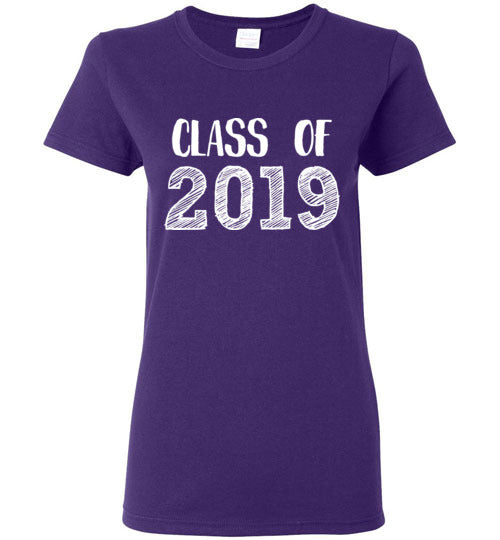Graphics Inspire - Ladies Class of 2019 Graduation Hand Sketched Purple Tee