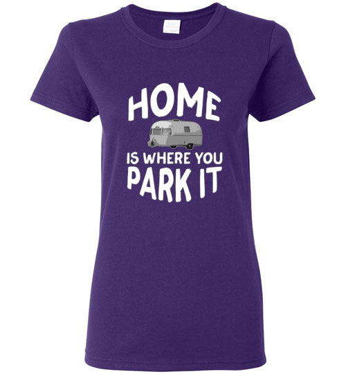 Graphics Inspire - Ladies HOME Is Where You Park It Funny Vintage RV Camping Purple Tee