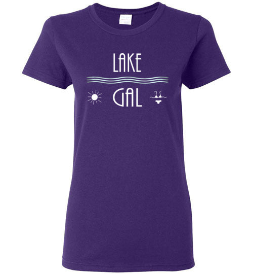Graphics Inspire - Ladies LAKE GAL Love the Lake Sun and Bikini Fun Purple Tee