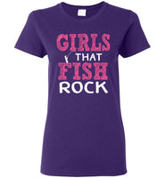 Graphics Inspire - Ladies Girls that Fish Rock Fun Fishing Purple Tee