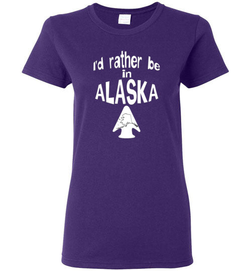 Graphics Inspire - Ladies I'd rather be in ALASKA - Arrowhead with State of Alaska Purple Tee