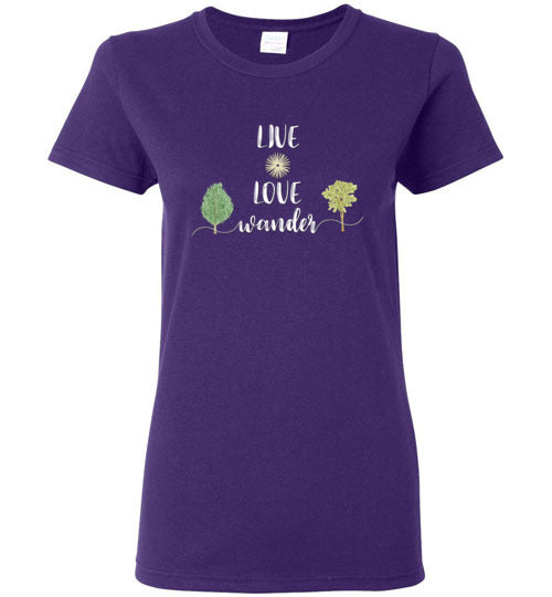 Graphics Inspire - Ladies LIVE LOVE Wander in Nature Wanderlust Purple Tee