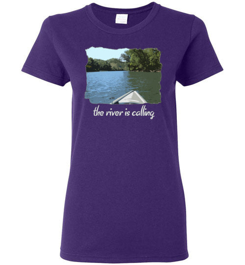 Graphics Inspire - Ladies The River is Calling from Kayak with fishing pole Angler's Purple Tee