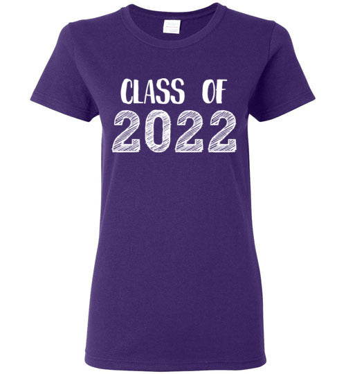 Graphics Inspire - Ladies Class of 2022 Graduation Hand Sketched Purple Tee
