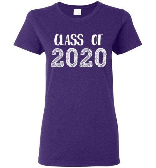 Graphics Inspire - Ladies Class of 2020 Graduation Hand Sketched Purple Tee