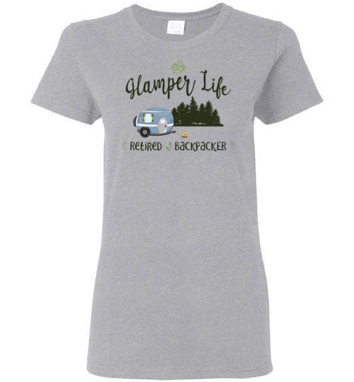 Graphics Inspire - Glamper Life Fun RV Camper Retired Backpacker Camping Ladies Tee