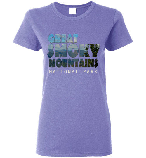 Graphics Inspire - Ladies Great Smoky Mountains National Park in Mountain Landscape Violet Tee
