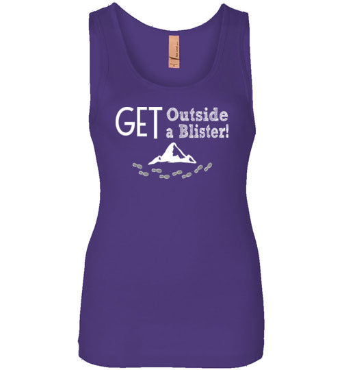 Graphics Inspire - GET Outside GET A Blister Hand Sketched Font Funny Hiker Womens Tank