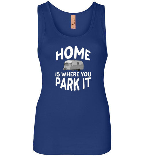 Graphics Inspire - HOME Is Where You Park It Funny Vintage RV Camping Womens Tank