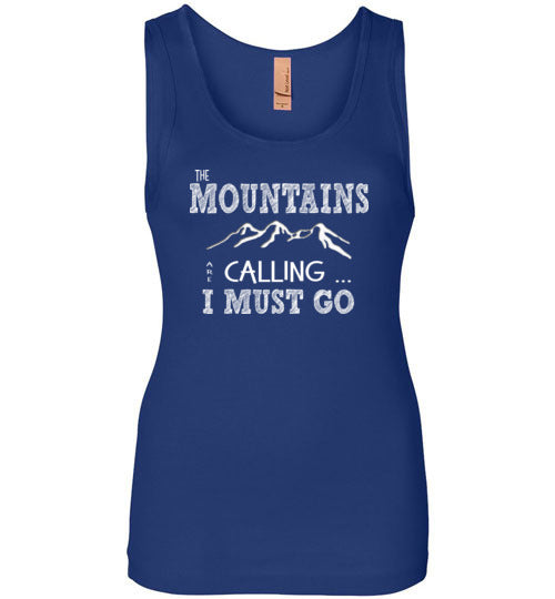 Graphics Inspire - The Mountains are Calling I Must Go Fun Hand Sketched Letters Womens Tank