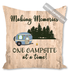 Making Memories One Campsite At A Time Wood Look Rustic Throw Pillow