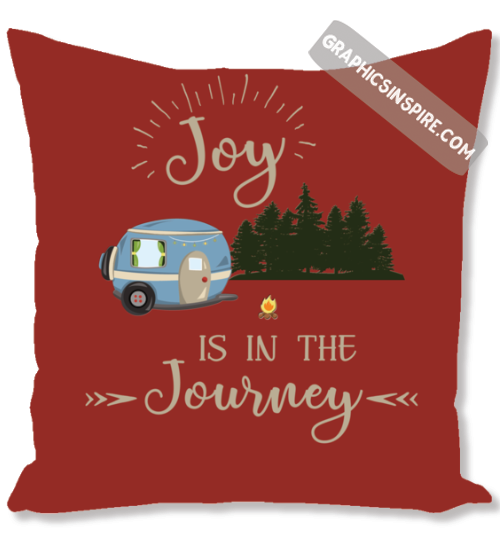 Joy Is In The Journey RV Camping Red Throw Pillow