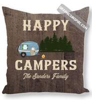 Personalize Happy Campers RV Camping Rustic Wood Look Throw Pillow