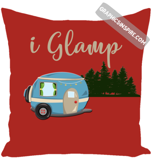 i Glamp RV Camping Fun Red Throw Pillow