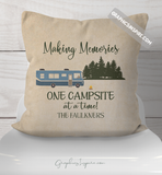 Personalized Making Memories Camping in Class A Motorhome Throw Pillow RV Decor