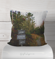 Personalize Couples Names on Hiking Trail Signs on Wilderness Trail Throw Pillow