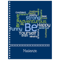 Graphics Inspire - Personalize BE Yourself Motivational Word Cloud Navy Notebook with Name