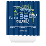 Graphics Inspire - Personalize BE Yourself Motivational Word Cloud Navy Shower Curtain with Name