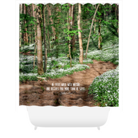 Graphics Inspire - In Every Walk with Nature  - John Muir Quote Painterly Floral Mountain Trail Rustic Shower Curtain