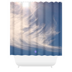 Graphics Inspire - Blue Sky with Swirly Clouds & Sun Rays Shower Curtain