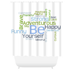 Graphics Inspire - BE Yourself Motivational Word Cloud White Shower Curtain