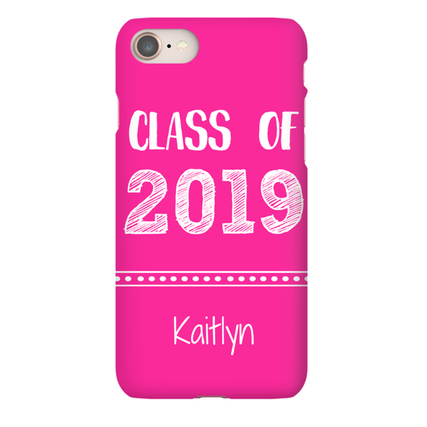 Graphics Inspire - Personalize Class of 2019 Graduation Hand Sketched Pink iPhone Case with Name
