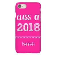 Personalize Class of 2018 Graduation Hand Sketched Pink iPhone Case with Name