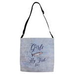 Graphics Inspire - Girls Fly Fish Too Rainbow Trout Purple Shoulder Strap Tote
