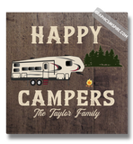 Graphics Inspire Canvas Wrap - Personalized Happy Campers Fifth Wheel Camping Faux Wood Canvas Wrap