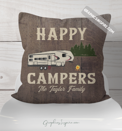 Graphics Inspire Throw Pillow - Personalized Happy Campers Fifth Wheel Rustic Wood Look Throw Pillow RV Decor