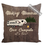 Making Memories Fifth Wheel Camping One Campsite At A Time Faux Dark Wood Throw Pillow