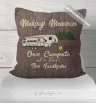 Graphics Inspire Throw Pillow - Personalized Making Memories Fifth Wheel Camping Rustic Faux Wood Throw Pillow RV Decor