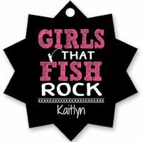 Graphics Inspire - Personalize Girls that Fish Rock Fun Fishing Holiday Star Shaped Metal Ornament with Angler's Name