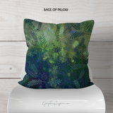 Graphics Inspire Throw Pillow - Adventure Awaits Throw Pillow on Lovely Green Watercolor Leaves Back Side