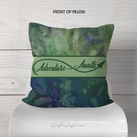 Adventure Awaits Throw Pillow on Lovely Green Watercolor Leaves