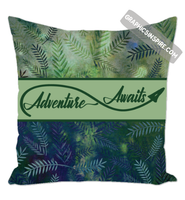 Graphics Inspire Throw Pillow - Adventure Awaits Throw Pillow on Lovely Green Watercolor Leaves