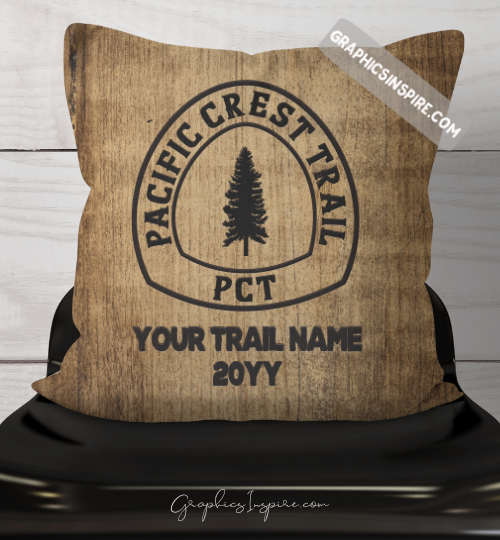 Graphics Inspire Throw Pillow - Personalized PCT Thru Hiker's Throw Pillow w/ Trail Name & Year Hiked