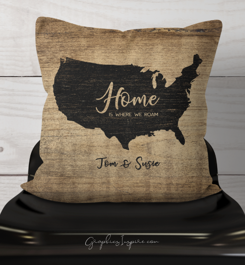 Graphics Inspire Throw Pillow - Personalized Home Is Where We Roam USA Throw Pillow w/Names Rustic Faux Wood RV Decor