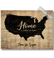 Graphics Inspire Canvas Wrap - Personalized Home is where we Roam Faux Wood Canvas RV Decor