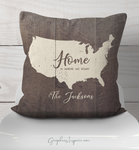 Graphics Inspire Throw Pillow - Personalized USA Home Is Where We Roam Throw Pillow w/Names Rustic Faux Wood RV Decor